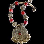 Antique Yemen Yemeni Ethnic Tribal Boho Silver Faux Amber Necklace