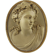 SALE XLarge Victorian Lava Cameo of a Bacchante Lady