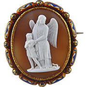 SALE XLarge Victorian Cameo Enamel Brooch of Guardian Angel Protecting a Boy from Snake