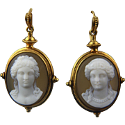 Victorian 18k Hardstone Cameo Earrings in Archaeological Revival Style