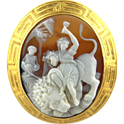 Large Victorian Shell Cameo Brooch of Ariadne Conquering Lion the Super Power of Wine