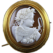 18k Gold Shell Cameo Brooch Pendant of Eros (Cupid) Greek God of Love
