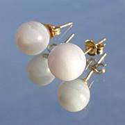 14kt Vintage Lavender Agate Stud Earrings