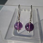 Sterling Silver Amethyst Bead Dangle Earrings