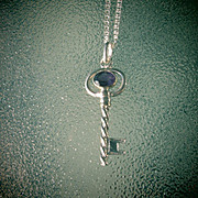 Sterling/9kt Yellow Gold Amethyst Key Pendant with Chain