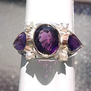 Sterling/9kt Vivacious Multi Amethyst Ladies Ring