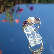 Sterling/Freshwater Pearl and Amethyst Ladies Ring
