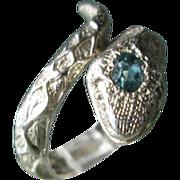 Sterling Silver Aquamarine and Diamond Wrap Around Unisex Snake Ring