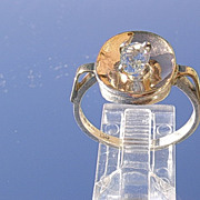 Silver/9kt Gold  Oval Aquamarine Ladies Ring