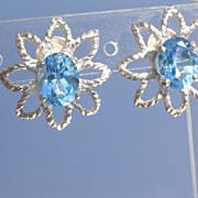 Sterling Blue Topaz Exotic Floral Stud Earrings