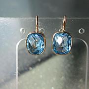 SOLD 14kt Yellow Gold Deep Blue Topaz Dangle Earrings