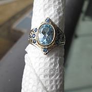 9kt Yellow Gold Blue Topaz/Multi Sapphire Ladies Ring