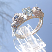 Sterling Blue Topaz and Sapphire Rose Bud Ladies Ring