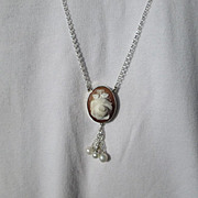 Sterling Silver Carved Shell Cameo Rose with Freshwater Pearls
