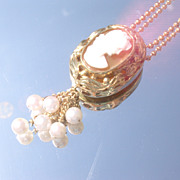 Sterling/Vermeil Shell Cameo and Pearl Lady Pendant with Chain