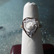 Sterling Silver/9kt Rose Gold Carved Shell Heart Flower Cameo with Diamonds Ladies Ring