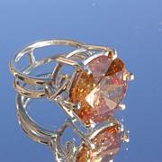 Sterling Large Citrine (Man Made) Gemstone WOW Ladies Ring