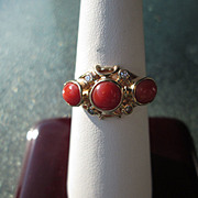 9kt Yellow Gold Triple Coral and Multi Diamond Ladies Ring