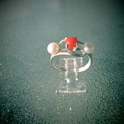Sterling Coral and Freshwater Pearl Ladies RIng