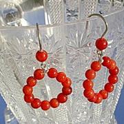 "Sterling ""Poppy Red"" Coral Circular Dangle Earrings"