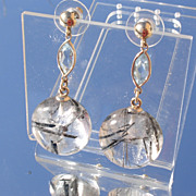 14kt Round Crystal and Ocular Aquamarine Dangle Earrings