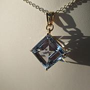 9kt Yellow Gold Crystal Clear Blue Diamond Shape Light Blue Cubic Zirconia and Sapphire Pendan