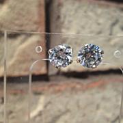 """Sterling/14kt """"1.50"""" Carat Cubic Zirconia Stud Earrings"""