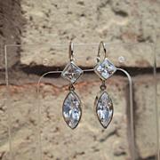 Sterling/14kt Diamond/Marquise Cut Cubic Zirconia Dangle Earrings
