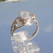 Sterling/9kt Emerald Cut Cubic Zirconia Ladies Ring