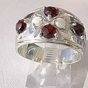 Sterling Multi Garnet/Opal Ladies Ring Band