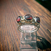 Sterling Silver/9kt Yellow Gold Double Oval and Round Almandine Garnet Ladies Ring
