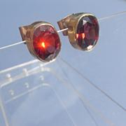 9kt Vivacious Red/Pink Garnet Stud Earrings