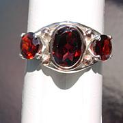 Sterling/Pink Gold LARGE Triple Garnet Ladies Ring