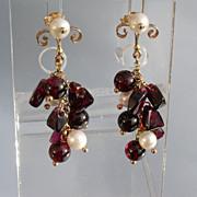 14kt Multi Garnet and Culture Pearl Cluster Dangle Earrings