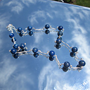 Multi Lapis Lazuli Royal Blue Sterling Necklace
