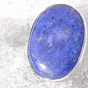 Sterling Ocean Blue Lapis Lazuli Brooch/Pendant