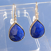14kt Deep Blue Pear Shape Multi Facet Lapis Lazuli Earring