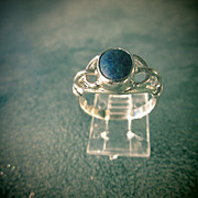 Sterling Silver Navy Blue Oval Lapis Lazuli Ladies Ring