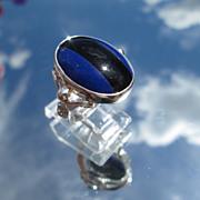 Sterling Lapis Lazuli/Black Onyx Ladies Ring