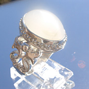 Sterling Large Oval Grey Moonstone Unisex Ring