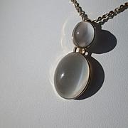 9kt Yellow Gold Double Grey Oval Moonstone Dangling Artisan Pendant