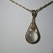 9kt Yellow Gold Round Grey Moonstone and Diamond Pendant
