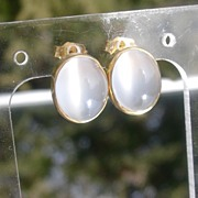 SOLD 14kt Yellow Gold Alluring Grey Moonstone Stud Earrings - Red Tag Sale Item