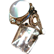 Sterling Silver/9kt Yellow and Pink Gold Grey Moonstone and Multi Sapphire Ladies Ring