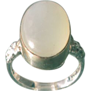 Sterling/9kt Pink Gold Oval Light Grey Moonstone Ladies Ring