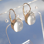14kt Dangle Semi-Translucent Grey Moonstone French Back Closure Earrings