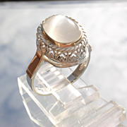 Sterling/9kt Light Grey Oval Moonstone Ladies Ring