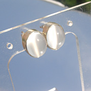 14kt Large Cabochon Grey Moonstone Stud Earrings