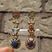 SOLD Sterling/Vermeil Finish Multi Size, Shape, Gemstone Slide Dangle Earrings - Red Tag Sale