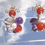 14kt Multi Gemstone Cluster Dangle Earrings